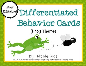 Differentiated Behavior Cards - Frog Theme (Editable)