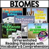 Differentiated Biomes Reading Passages with Vocabulary & C
