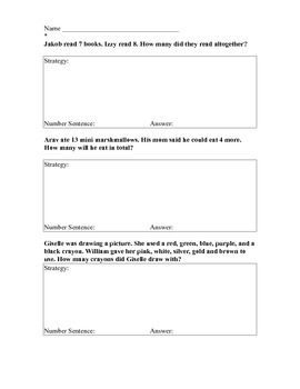 Differentiated CCSS Addition Word Problems for First Graders