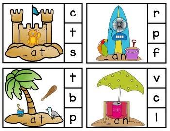 Summer CVC Word Clip Cards