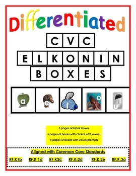 CVC Elkonin Boxes (differentiated for short vowe and word
