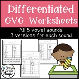 CVC Words Worksheets for Word Work {DIFFERENTIATED}