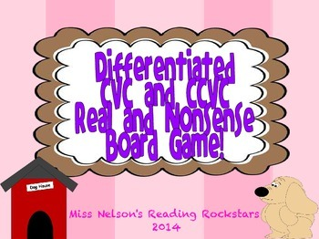 Differentiated CVC and CCVC Board Game!  Includes Real and Nonsense Words!