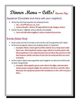 Differentiated Cell Menu Activity