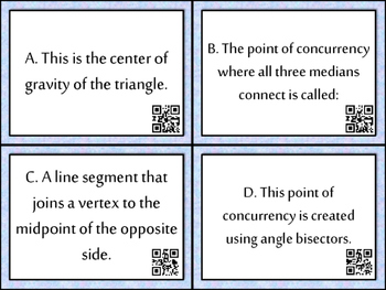 Differentiated Centers of Triangles Task Cards With QR Codes and Answer Sheets