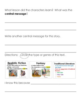 Differentiated Central Message Response to Reading (End of Year)