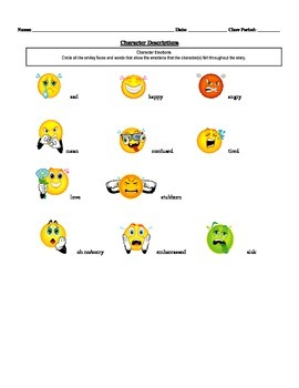 Differentiated Character Descriptions Activity