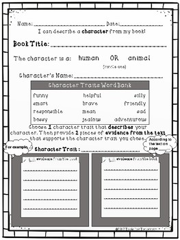 Differentiated Character Trait Worksheets