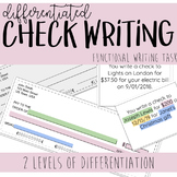 Differentiated Check Writing Task Cards - Functional Writi