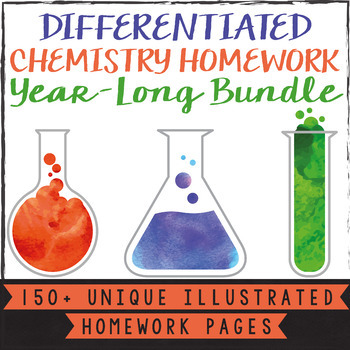 2 Differentiated Chemistry Whole Year Homework Bundle