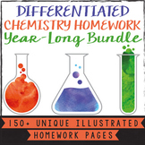 Differentiated Scaffolded Chemistry Whole Year Homework Bundle