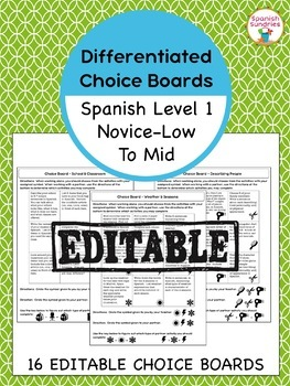 Differentiated Choice Boards - Spanish 1