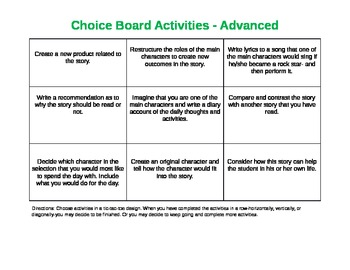 Differentiated Choice Boards for 3rd Grade Reading