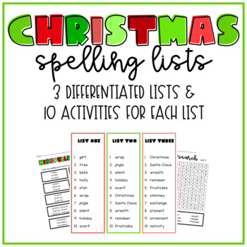 Christmas Spelling Words.Differentiated Christmas Spelling Lists Tests