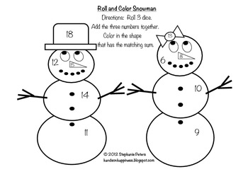 Differentiated Christmas and Winter Addition Roll and Color