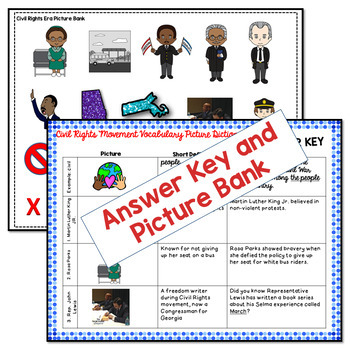 Differentiated Civil Rights Movement Vocabulary Picture Dictionary Set