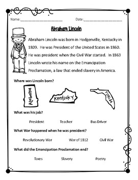 Civil War Biographies (Set 1) Differentiated
