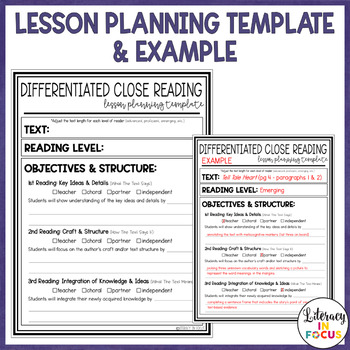 Differentiated Close Reading Lesson Planning Template By Literacy In