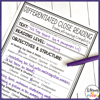 Differentiated Close Reading Lesson Planning Template by Literacy in ...