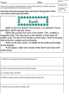 Differentiated Close Reading Worksheet; Special Ed; Direct