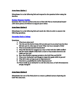 Differentiated Cold War Arms-Space Race Assignment