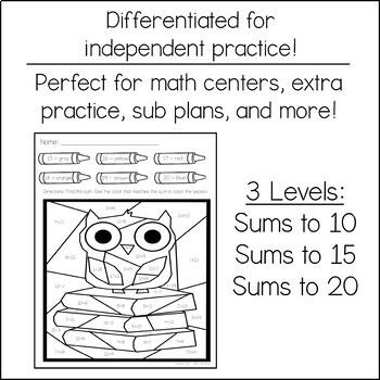 Differentiated Color by Addition   Owl with Books
