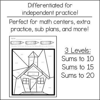FREE Differentiated Color by Addition | School House
