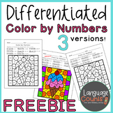 Differentiated Color by Numbers Freebie- Numbers and Sums