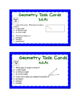 Differentiated Common Core Math Grade 3 Task Cards 3.G.A.1