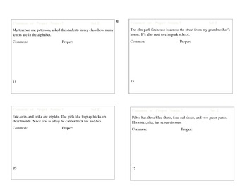 Differentiated Common and Proper Noun Task Cards for third grade