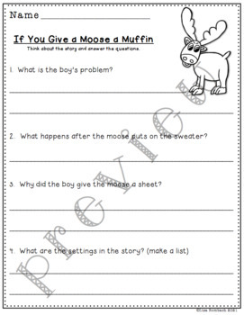 Differentiated Comprehension Ques. If You Give a Moose a Muffin