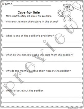 Differentiated Comprehension Questions Caps for Sale