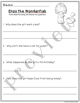 Differentiated Comprehension Questions Enzo the Wonderfish