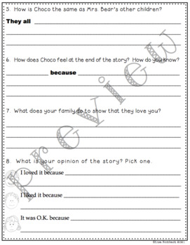 Differentiated Comprehension Questions for A Mother for Choco