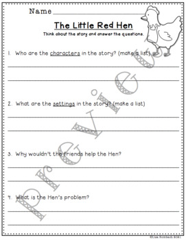 Differentiated Comprehension Questions for Little Red Hen Stories