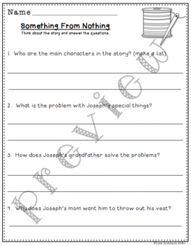 Differentiated Comprehension Questions for Something From Nothing