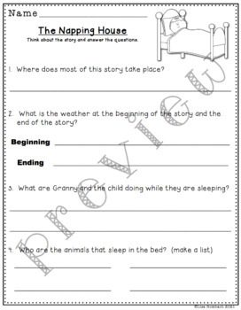 Differentiated Comprehension Questions for The Napping House