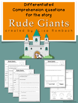 Differentiated Comprehension Questions for the story Rude Giants