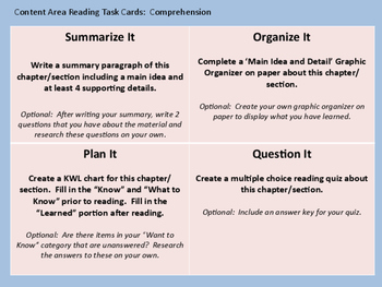 Differentiated Content Area Response Cards