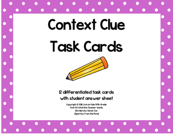 Differentiated Context Clue Task Cards