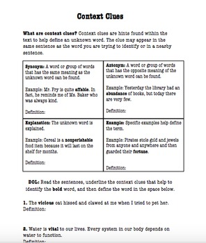 Differentiated Context Clues Handout/Lesson