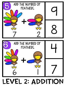 Differentiated Counting and Addition Clip Cards- Thanksgiving Theme!