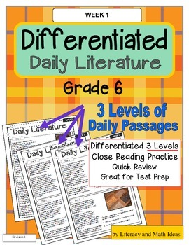 Differentiated Daily Literature Practice Grade 6 (Week 1)