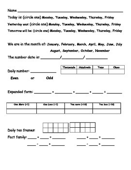 Differentiated Daily Math Journal/Calendar Pages