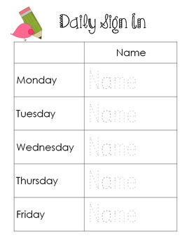 Differentiated Name Practice- Daily Sign In Sheets-Editable freebie!