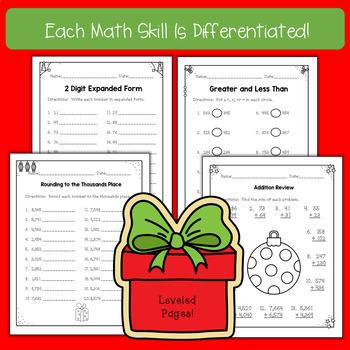 Differentiated December No Prep Math Printables
