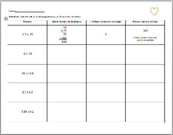 Differentiated Decimal Multiplication Worksheet