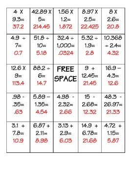 Differentiated Decimal Operations BINGO