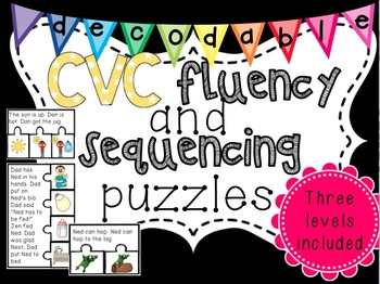 Differentiated Decodable CVC Fluency and Sequencing Passages {color and B&W}