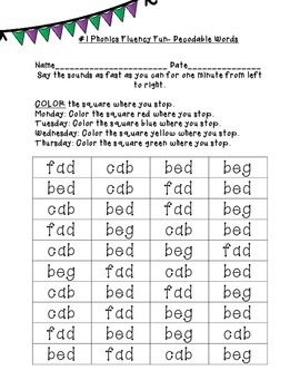 Swift Sounds Differentiated Decodable Words Fluency: ABC Order